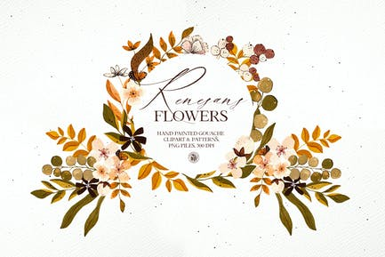 Renesans Flowers - gouache clipart and patterns