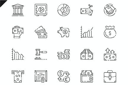 Simple Set Finance Line Icons