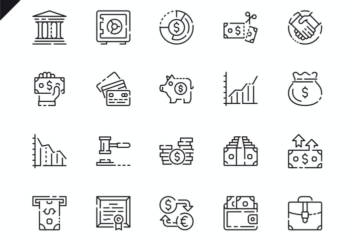 Thumbnail for Simple Set Finance Line Icons