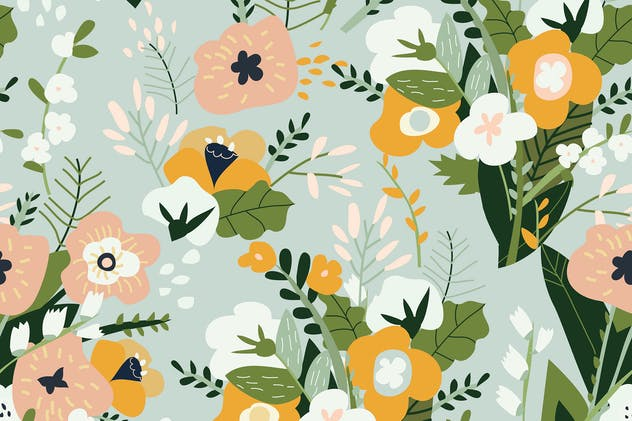 Vector seamless pattern of spring bouquets of flow