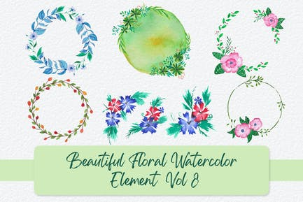 Beautiful Floral Watercolor Elements Vol 8
