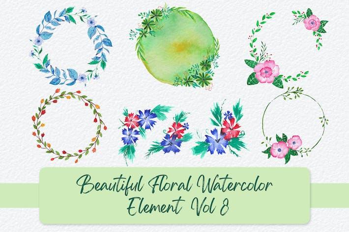 Schöne florale Aquarell-Elemente Vol 8