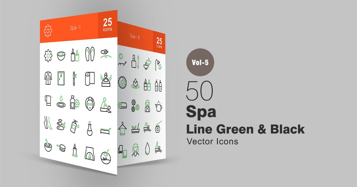 Download 50 Spa Line Green & Black Icons by Unknow