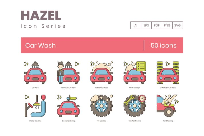 50 Car Wash Color Line Icons