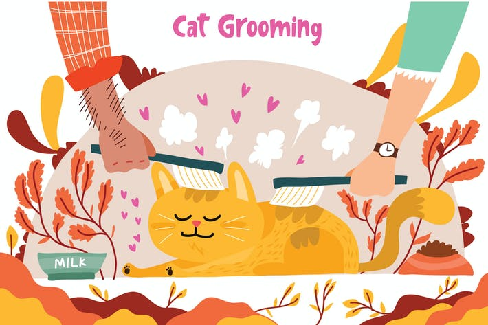 Cat Grooming - Vector Illustration