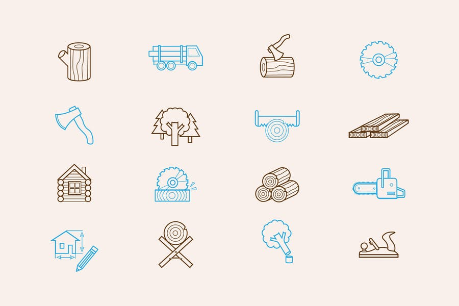 Logging Industry Icons