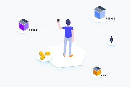Apartment Rent Blockchain Platform Isometric