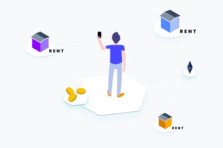 Thumbnail for Apartment Rent Blockchain Platform Isometric