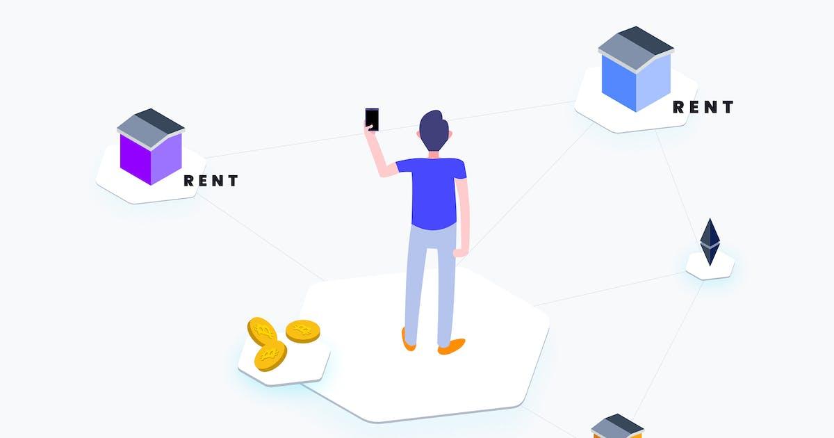Download Apartment Rent Blockchain Platform Isometric by angelbi88