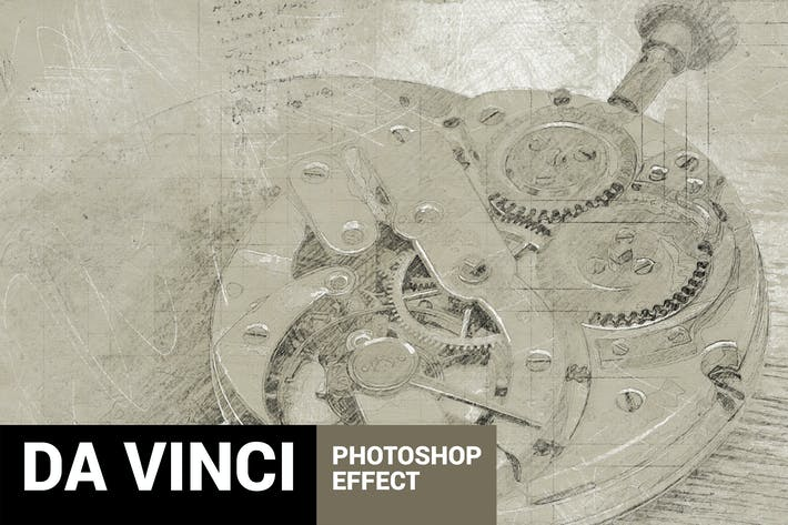 Thumbnail for Da Vinci - Hand Drawn Sketch Photoshop Action