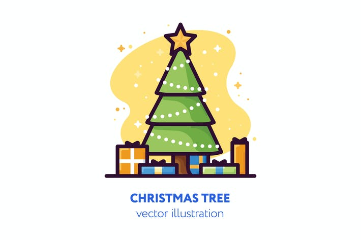 Thumbnail for Christmas tree vector illustration