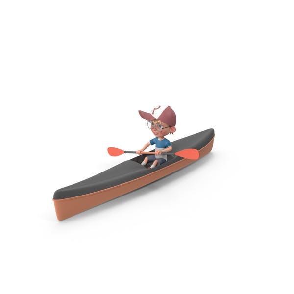 Cartoon Boy Harry Kayaking