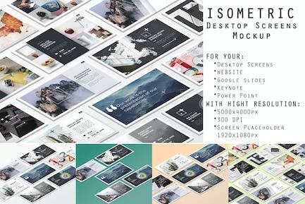 Isometric Desktop Screens Mockup V01