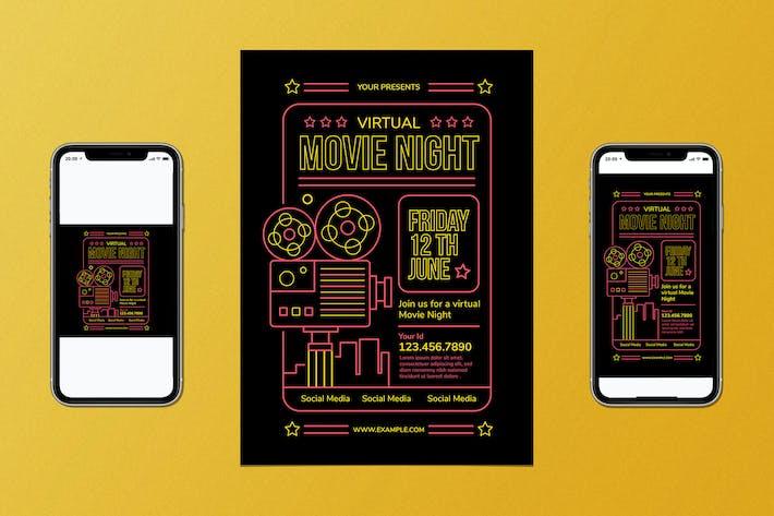 Thumbnail for Virtual Movie Night Flyer Set
