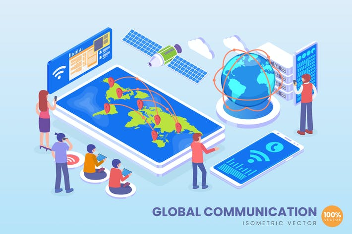 Thumbnail for Isometric Global Communication Vector Concept