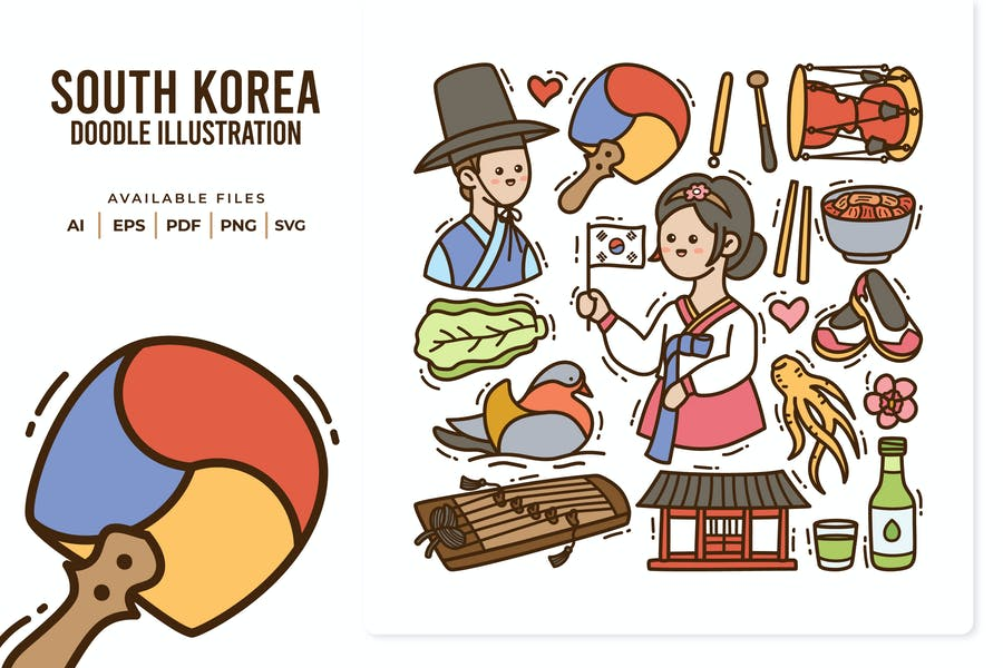 South Korea Doodle Illustration