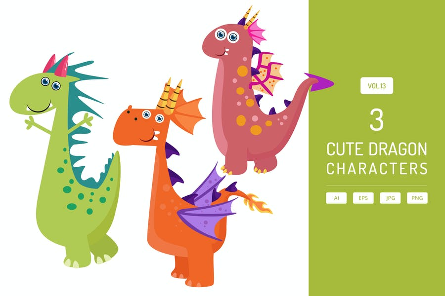 Cute Dragon Characters Vol.13