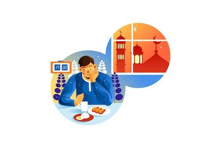 En attente de l'Iftar au mois du Ramadan