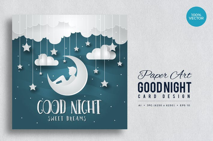 Thumbnail for Paper Art Good Night Vector Card Vol.1