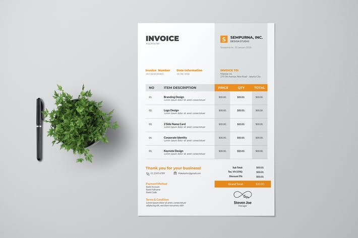 Thumbnail for Чистый дизайн счета-фактуры с желтым акцентом