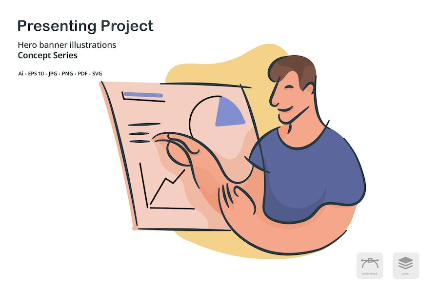 Presenting Project Vector Illustration