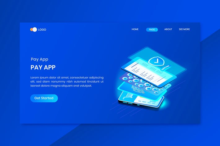 Payment Protection Technology  App Isometric