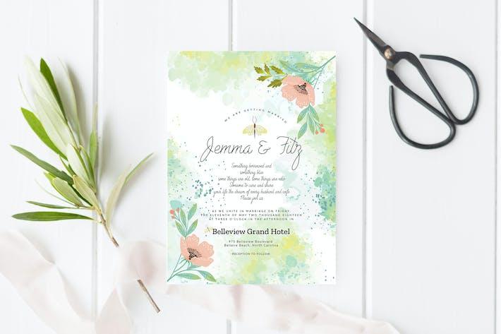 Thumbnail for Invitation de mariage floral citron vert
