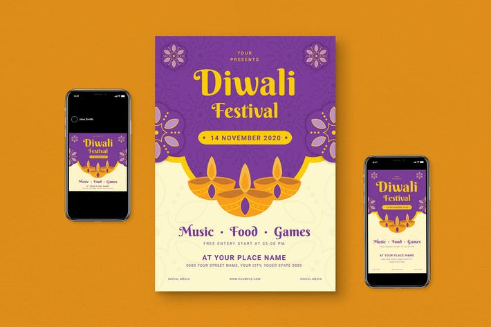 Thumbnail for Diwali Flyer Set