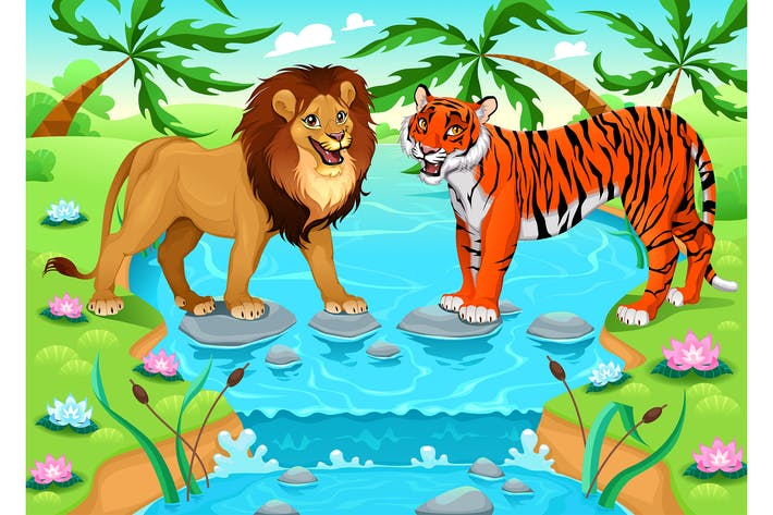 Thumbnail for Lion and Tiger Together in the Jungle