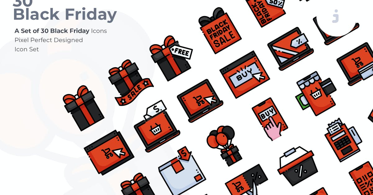 Download 30 Black Friday Icons by Justicon