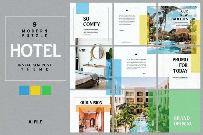 Thumbnail for Modern Puzzle Theme - Hotel Instagram Post