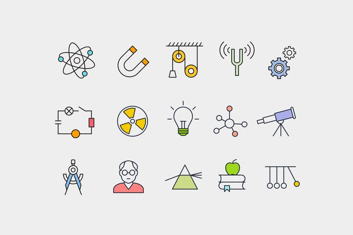 Cover Image For 15 Physics Concept Icons