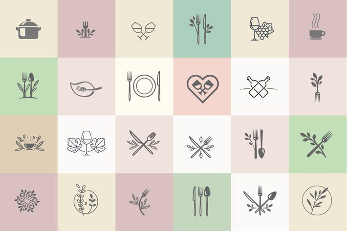 Thumbnail for Set of icons for food and drink.