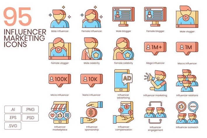 Thumbnail for 95 Influencer Marketing Line Icons