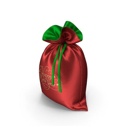 Red and Green Happy New Year Bag with Gifts