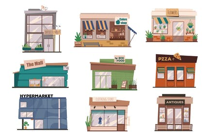 Restaurants Or Shops Facades Set Isolated Elements