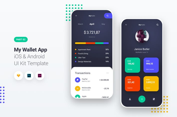 Thumbnail for My Wallet App iOS & Android UI Kit Template 2