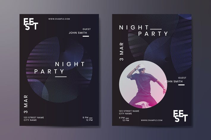 Thumbnail for Night party poster design vector set