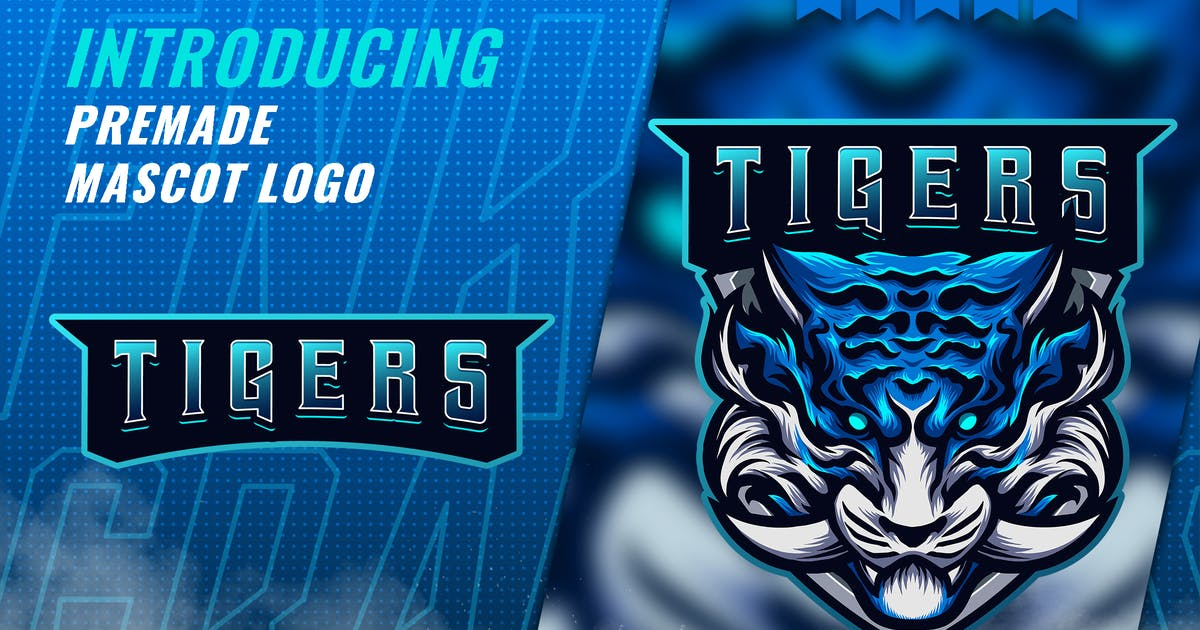 Download Blue Tiger Fang - Mascot Esport Logo Template by FNRGraphics