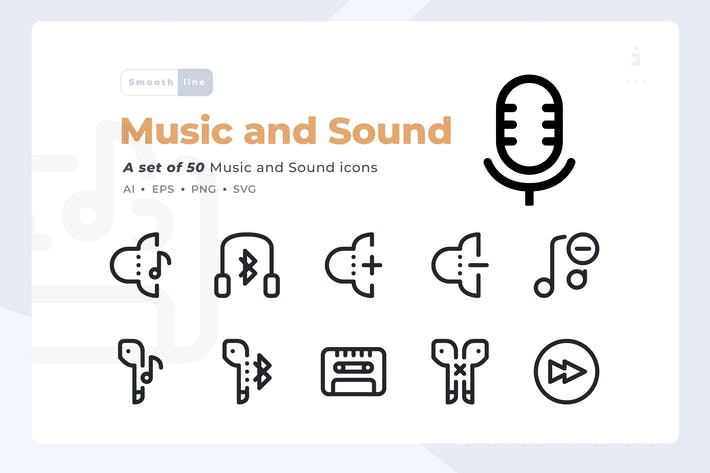 Thumbnail for Smoothline - 50 Music and Sound icon set