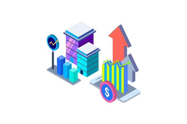 Thumbnail for Growth Isometric Illustration