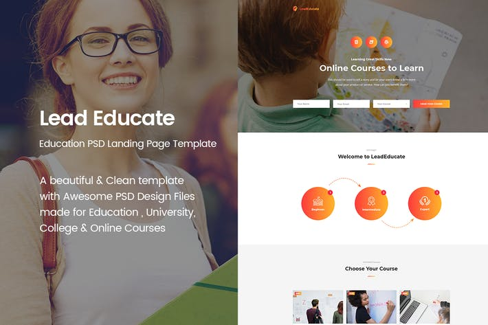 Thumbnail for LeadEducate - Education PSD Landing Page Template