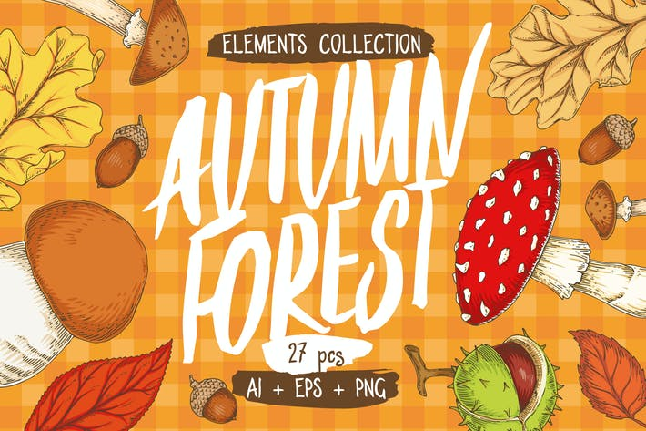 Thumbnail for Autumn Forest Elements Collection