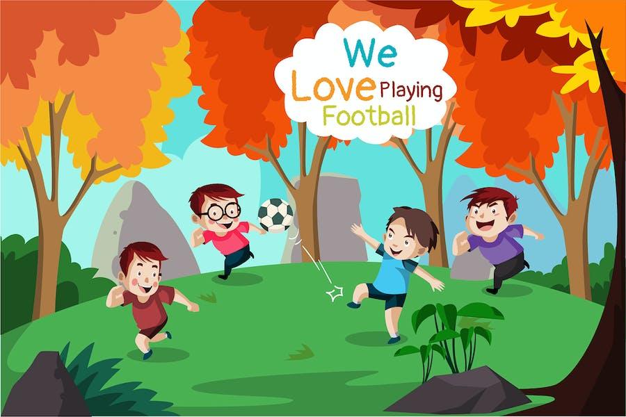 Playing Football - Illustration