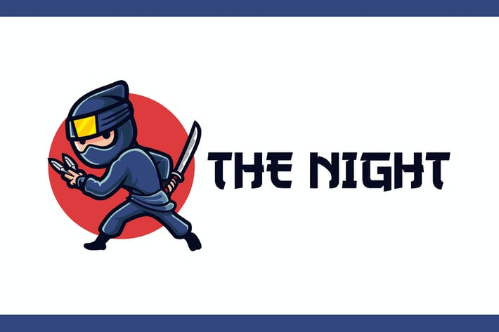 Thumbnail for Cartoon Ninja Mascot Logo