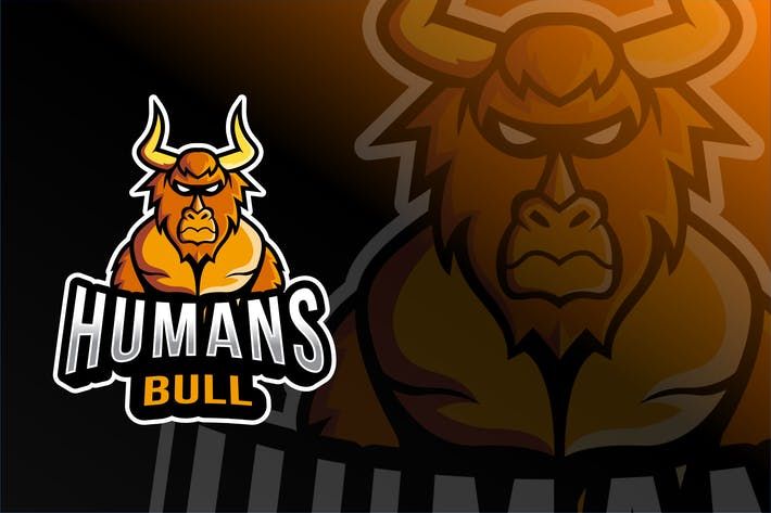 Thumbnail for Humans Bull Esport Logo Template