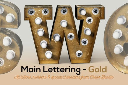 Marquee Light Bulbs Chaos 3 - Gold Lettering