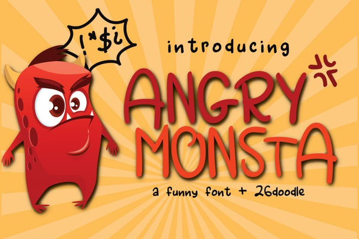 Thumbnail for Angry Monsta - una fuente divertida con garabatos