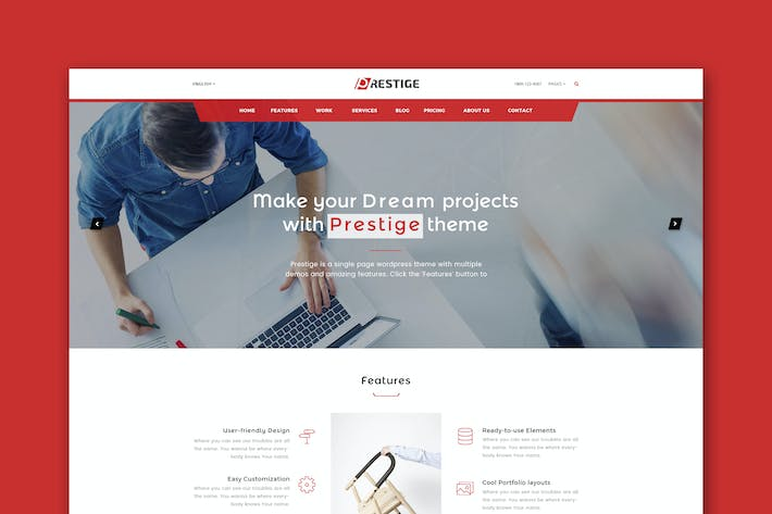 Thumbnail for Prestige - Single Page HTML Template
