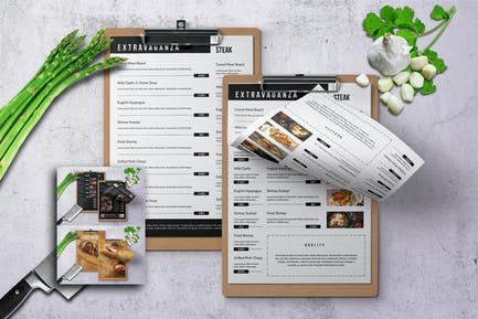 Elegant Single Page Food Menu Bundle